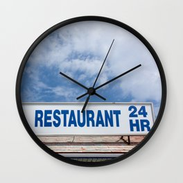 Open 24 Hours. Wall Clock