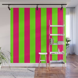 Bright Neon Green and Pink Vertical Cabana Tent Stripes Wall Mural