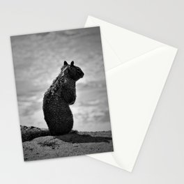 Squirrel standing on a cliff overlooking the ocean Stationery Cards