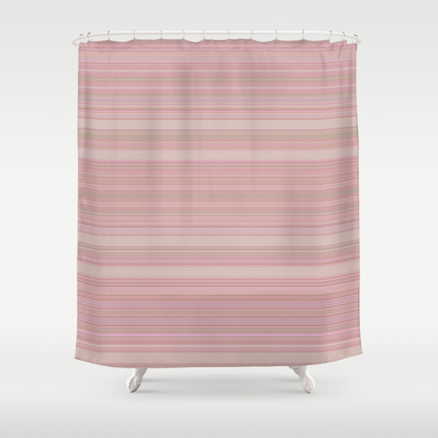 Dusk Heavenly Pink Stripes Shower Curtain