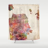 san francisco Shower Curtains featuring San Francisco map by MapMapMaps.Watercolors