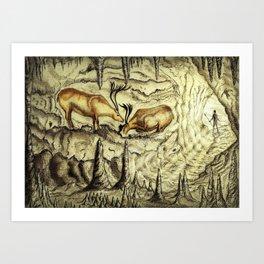 Rock Shelter Reindeer Art Print