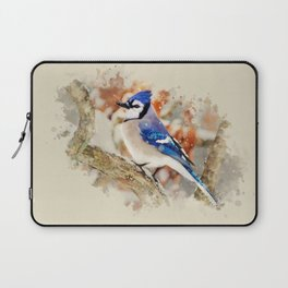 Watercolor Blue Jay Art Laptop Sleeve