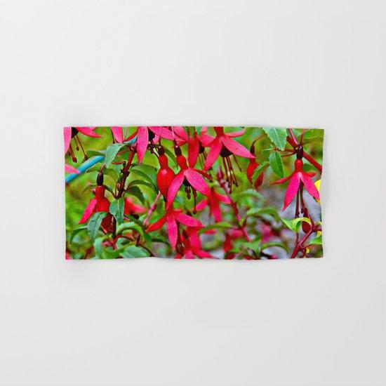 Pink Fuchsia Blossoms Hand & Bath Towel