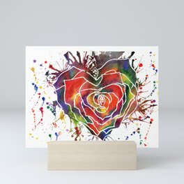 Rainbow Rose Love Heart Mini Art Print