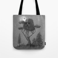 forest Tote Bags featuring Dark Side of The Forest  by Terry Fan