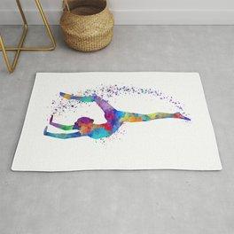 Colorful Gymnastics Tumbling Watercolor Art Rug