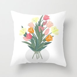 Bouquet of tulips in glass vase Throw Pillow