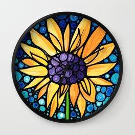 Standing Tall - Sunflower Art By Sharon Cummings Wall Clock