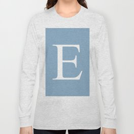 Letter E sign on placid blue color background Long Sleeve T-shirt