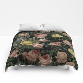 Vintage Roses and Iris Pattern - Dark Dreams Comforters