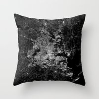houston Throw Pillows featuring Houston map by Line Line Lines
