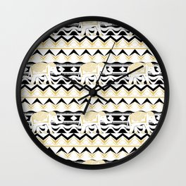 Ethnic Elephant Aztec Tribal Stripe Black White Gold  Wall Clock