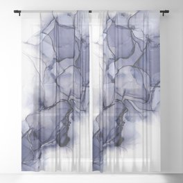 Purple Wispy: Original Abstract Alcohol Ink Painting Sheer Curtain