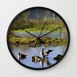 Canada Geese Sunrise Wall Clock