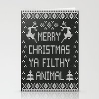 Stationery Cards featuring Merry Christmas Ya Filthy Animal by Lostfog Co.