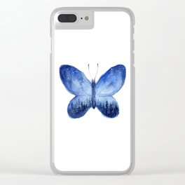 Blue Galaxy Butterfly Clear iPhone Case