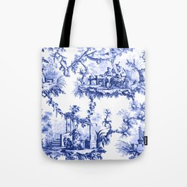 Blue Chinoiserie Toile Tote Bag