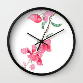 red  pink  bougainvillea watercolor Wall Clock
