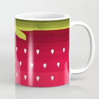 strawberry Mugs featuring Strawberry by Kakel