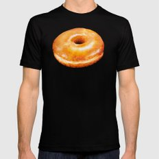 Donut Pattern - Glazed LARGE Black Mens Fitted Tee