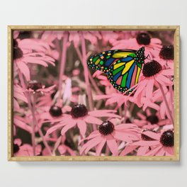 Surreal Monarch on Pink Flowers Serving Tray