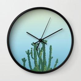 Wild Cactus Blue Wall Clock