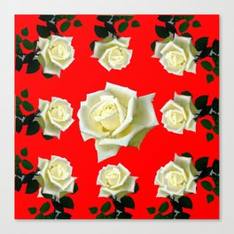 WHITE ROSES RED GARDEN DESIGN Canvas Print