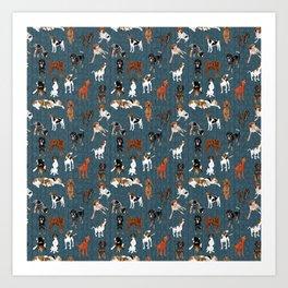 Coonhounds on Dark Teal Art Print