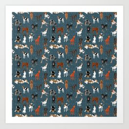 Coonhounds on Dark Teal Art Print