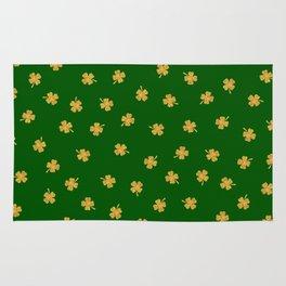 Golden Shamrocks Green Background Rug