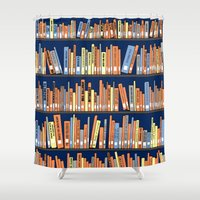 library Shower Curtains featuring Library Bookshelf by thirtythr33