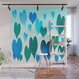 Hearts get Lighter (blue) Wall Mural