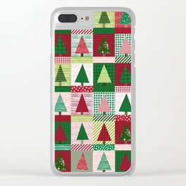 Christmas tree forest quilt pattern cute red and green holiday gifts Clear iPhone Case