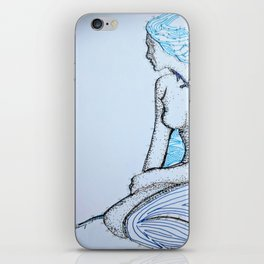 Brown woman with blue hair iPhone Skin