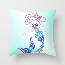 Tribal Mermaid with Ombre Turquoise Background Throw Pillow
