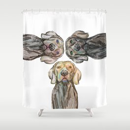 Triple Hunting Dogs Shower Curtain