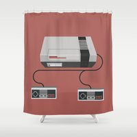 gaming Shower Curtains featuring Retro Gaming - NES by minemine