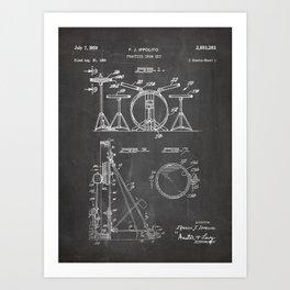 Drum Set Patent - Drummer Art - Black Chalkboard Art Print