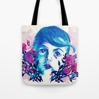 new year Tote Bags featuring New Year by Enrico Guarnieri 'Ico-dY'