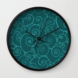 All Shells Teal Wall Clock