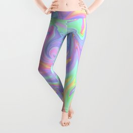 Marbled Pastel Rainbow Abstract Design Leggings