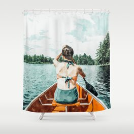 Row Your Own Boat #illustration #decor #painting Shower Curtain