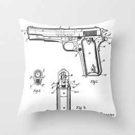 Colt Pistol Patent - Browning 1911 Colt Art - Black And White Throw Pillow