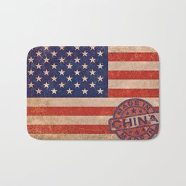American Flag America USA US United States of America Patriotic Red White Blue Made In China Bath Mat