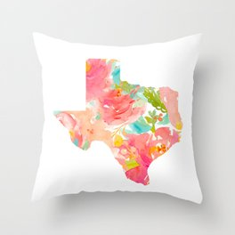Texas Floral map state map print Throw Pillow