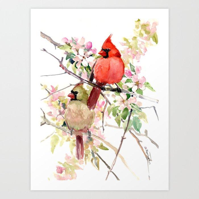 Cardinal Birds and Spring, cardinal bird design Kunstdrucke