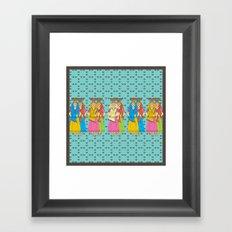 Indian Village Girls Framed Art Print