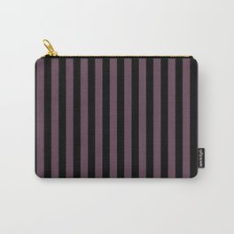 Eggplant Violet and Black Vertical Stripes Carry-All Pouch