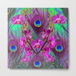 Blue Green Peacock Feathers Fuchsia Orchid Patterns Art Metal Print